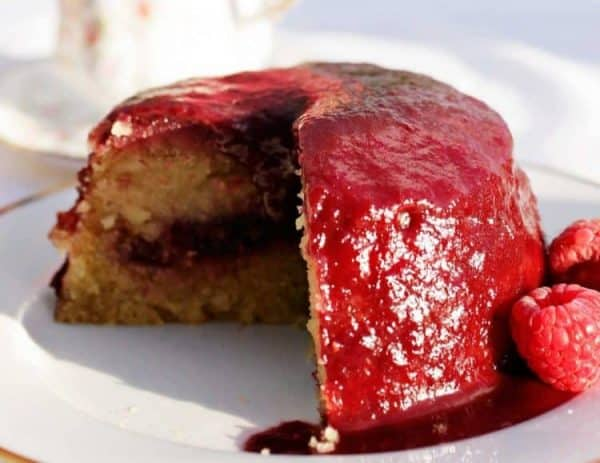 Raspberry and Almond Pudding